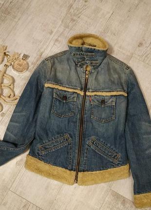 Утепленная джинсовая куртка на меху / джинсовка теплая от levi's-s-36р