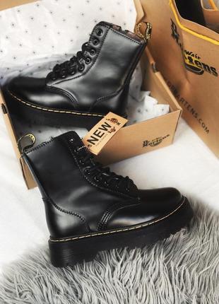 Dr. martens jadon black fur женские зимние ботинки с мехом чёрные зима