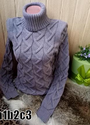 Теплые вязаные свитера кофты с горлом one size -разные цвета