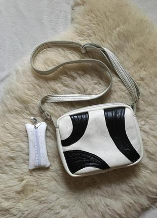 Белая сумка кроссбоди натуральная кожа