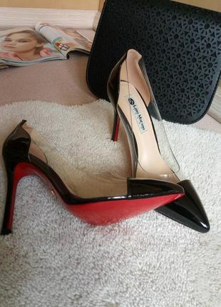 Туфли lino marano c силиконовыми вставками, туфли лодочки черные на красной подошве