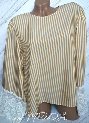 Шикарная блуза с широким белым кружевом от h&m size uk 12