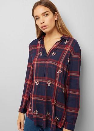 Блуза рубашка клетка с вышивкой вискоза new look p m-l