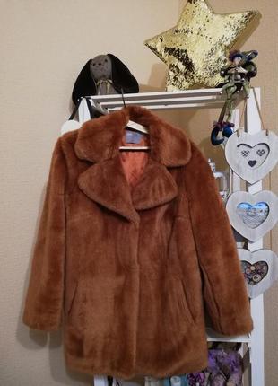 Пальто женское эко шубка asos тедди шубка