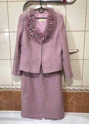 Крутой костюм в стиле шанель пиджак юбка натуральный мех деловой костюм нарядный костюм