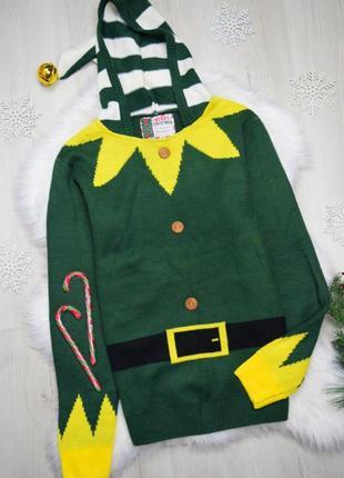 Зелёный прикольный свитер с капюшоном ельфа унисекс праздничный оригинальный новогодний