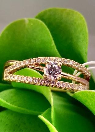 Позолоченное кольцо р.18,5 - скрещенные линии с камнями, позолота, недорого + видеообзор