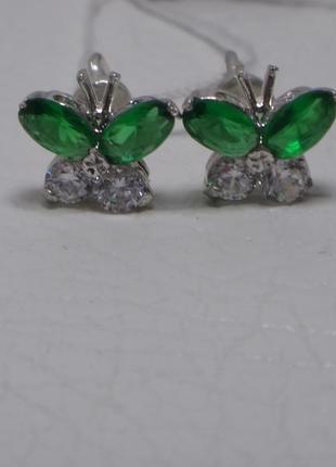 Серебряные серьги-гвоздики с цветными вставочками