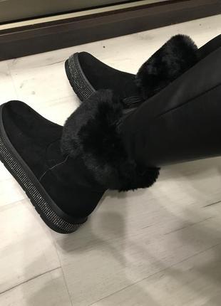 Угги чёрные мини валенки полусапожки ботинки зимние эко замшевые