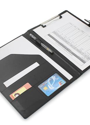 Новая кожаная папка клатч для документов и бумаг цвет черный, синий и беж