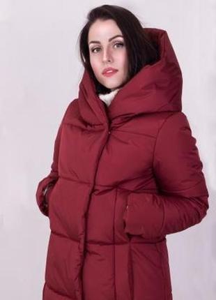 Бордовая| женская зимняя куртка с капюшоном высокого качества
