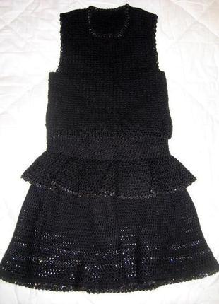 Шерстяной костюмчик 8-9 лет( жилет и юбка)