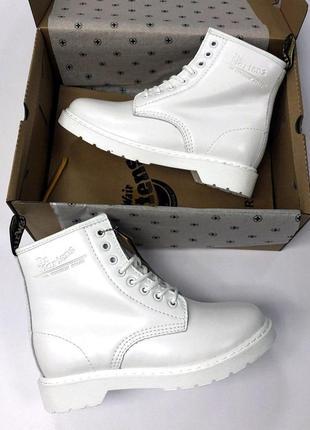 Женские зимние кожаные ботинки/ сапоги dr. martens white fur 😍 (с мехом)