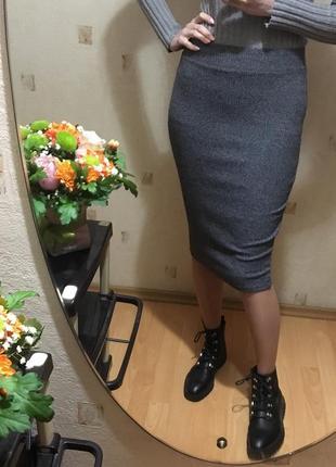 🌫тёплая серая юбочка миди next/серая юбка за колено/юбка облегающая осень-зима🌫