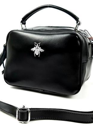 Женская кожаная сумка черного цвета guecca