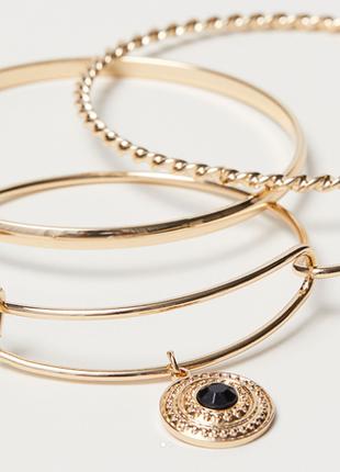 Набор браслетов кольца 3 шт h&m с подвесками золото браслет модная бижутерия тренд