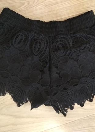 Шикарные черные кружевные шорты шортики кружево недорого