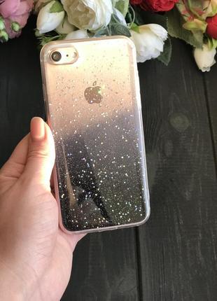 Силиконовый чехол с блёстками на айфон iphone 6/6s 7/8