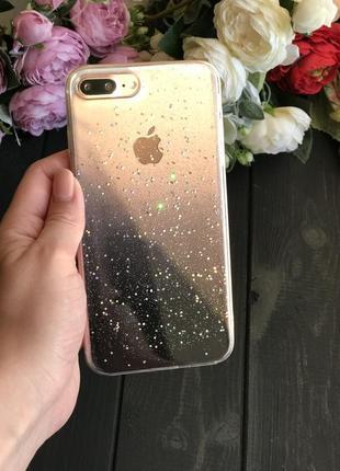 Силиконовый чехол с блёстками на айфон iphone 7 plus 8 plus плюс