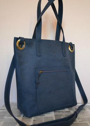 Женская сумка-шоппер из натуральной кожи lori (blue ocean) 034