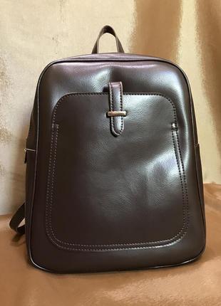Кожаный рюкзак-сумка коричневого цвета