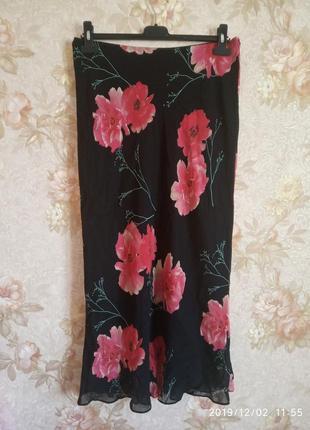Шифоновая юбка цветочный принт