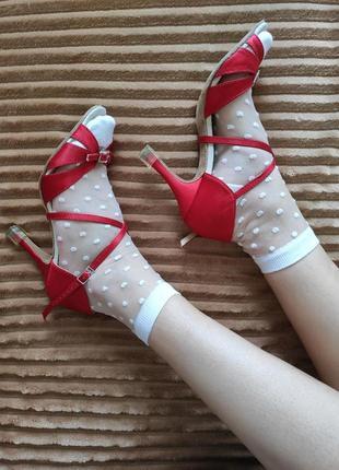 Красные туфли для танцев, для латиноамериканских танцев, латина, атласные туфли