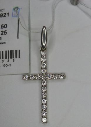 Подвес крест серебро 925 пробы вставки куб. циркония