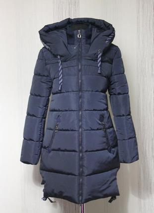 Нове зимове пальто 50-52 темно-синий харків зимнее пальто куртка новое
