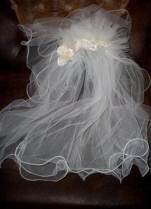 Фата невесты двуярусная с винтажным веночком германия