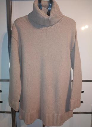 Бежевый свитер с высоким горлом оверсайз h&m кашемир