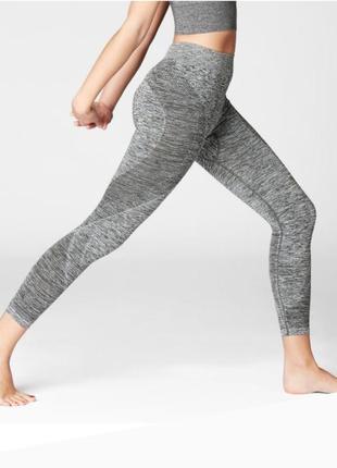 Фирменые серые леггинсы, лосины  бесшовные для йоги, фитнеса, стрейчинга