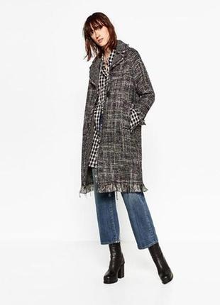 Красивое твидовое пальто zara s-m