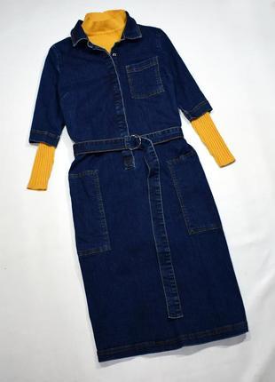 Джинсове плаття міді з поясом