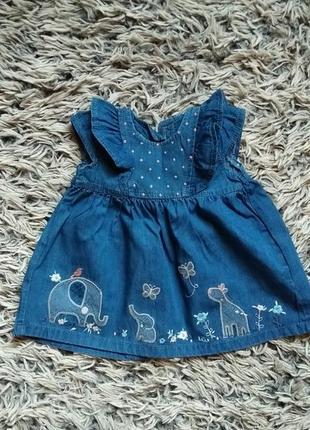 Джинсовое платье на 3-6месяцев 62-68см