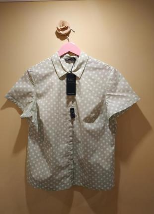 Рубашка блузка  горох мята короткий рукав новая
