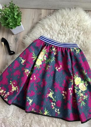 Брендовая стильная юбка солнце в интересный цветочный принт 🌼