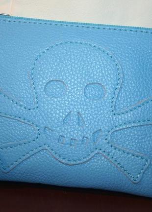 Стильный бирюзовый итальянский кожаный клатч с принтом череп les naides
