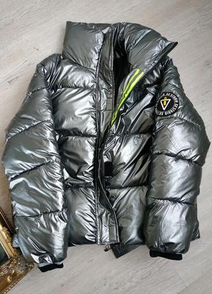 Куртка пуховик зимняя зефирка в стиле off- white оверсайз дутыш