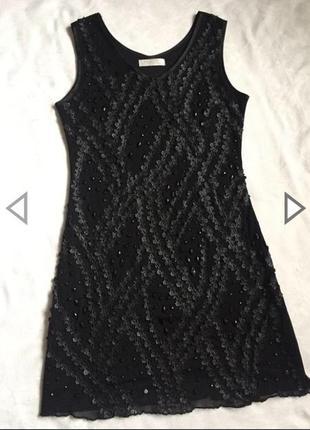 Распродажа! шикарное платье чёрное с камнями m(46)