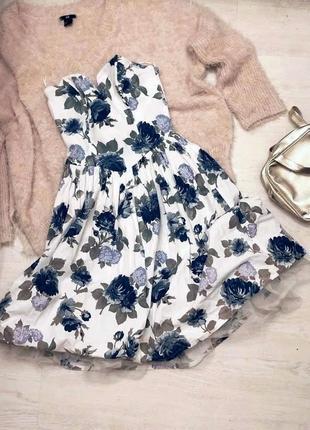 Сукня пишна / пышное платье в цветочный принт корсет пачка