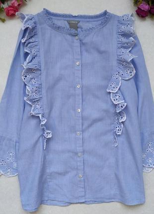 Блуза - рубашка сорочка в полоску с рюшами, р. m