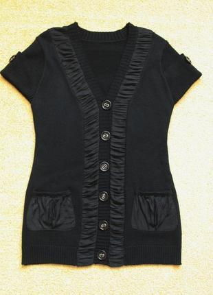 Жилет кадиган жилетка удлиненный вязаный черный с накладными карманами без рукавов