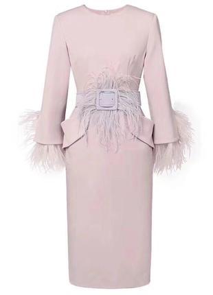 Платье с натуральными перьями