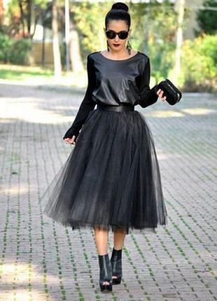 Шифоновая юбка, длина миди