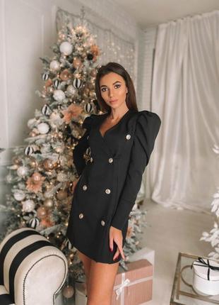 Новое чёрное платье пиджак на пуговицах с воланами