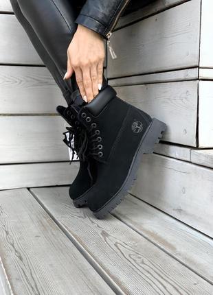 Женские зимние ботинки timberland black premium fur / натуральные материалы