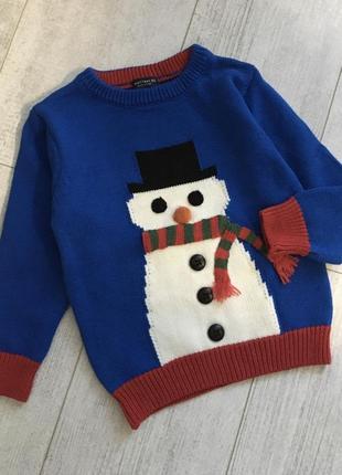Новогодний свитер некст с снеговиком 1,5-2 года снеговик