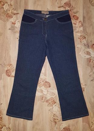Джинсовые бриджи,джинсы клеш,синие джинсы