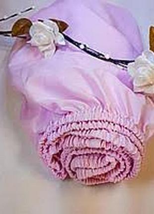 Качественная трикотажная детская розовая простынь на резинке наматрасник